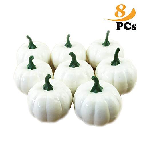 ZoneYan Weiße Künstliche Kürbisse, Simulation Kürbisse,Herbst Thanksgiving Dekorationen 8 pcs