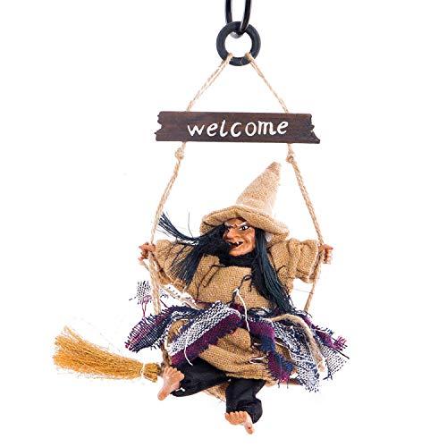Winthai Colgando Bruja Horror Fantasma Figura Juguetes con Tablero de signode Bienvenida para la casa jardín Bar Halloween Ornamentos Props Decoraciones Amarillo