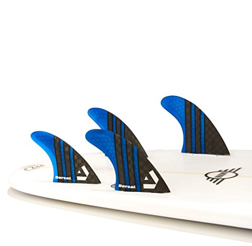 DORSAL Carbon Hexcore Quad Surfboard Fins (4) Honeycomb FCS Base Blue