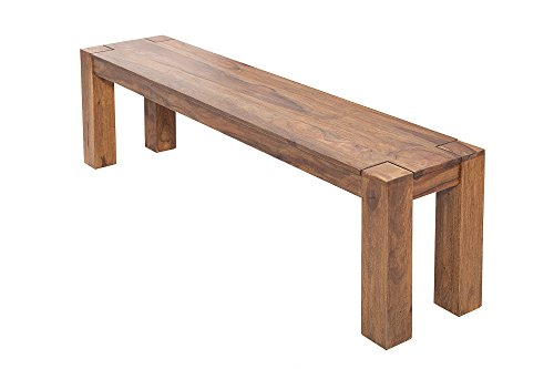 DuNord Design Sitzbank Holz massiv Sheesham Jakarta 140cm Massivholz Küchenbank Natur