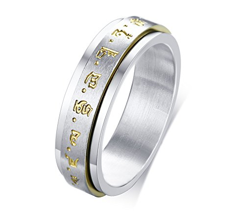Mens Womens Two-Tone Stainless Steel Tibetan Buddhist Mantra Lucky Spinner Meditation Ring Band,Size 10