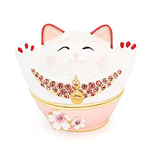 SMFN Caja de Almacenamiento de joyería portátil de Cristal de Gato Lucky Lucky Collectibles Casa para el Collar de Anillos de Pendiente Cumpleaños Mujeres Chicas