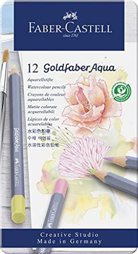 Faber-Castell Goldfaber Aqua - Caja de metal (12 unidades), color pastel