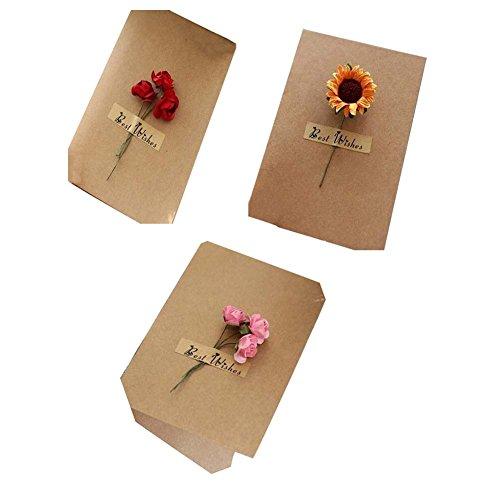 Schöne Blumen-Gruß-Karten/Wunsch-Karten für Festivals Satz von 3