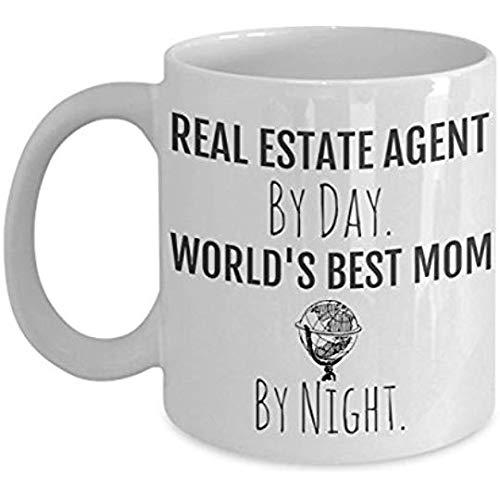 AntonioKe75 - Taza de inmobiliaria para mamá de bienes raíces, agente de bienes raíces por día, mejor mamá por noche, regalo perfecto para su madre o esposa para su cumpleaños o el día de la madre, taza de café para la oficina de mamá
