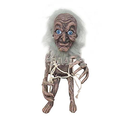 BBDA Figura decorativa hecha a mano con texto en ingls 'Evil Goblin', diseo con texto en ingls 'Little Evil Crafts', color gris
