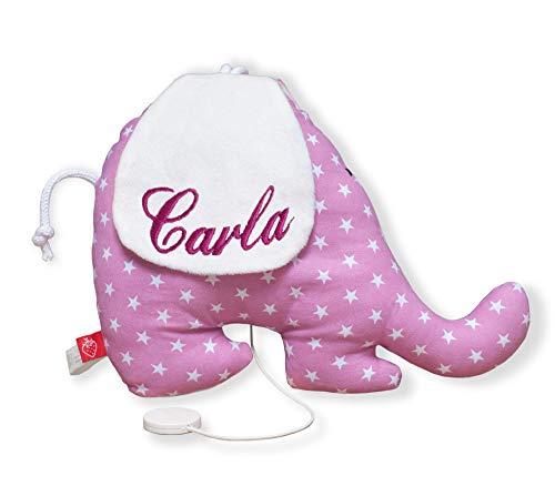 Spieluhr Elefant mit Namen Stern beige Baby (Geburtsgeschenk: Junge & Mädchen mit versch. Melodie z.B. Lalelu,) …