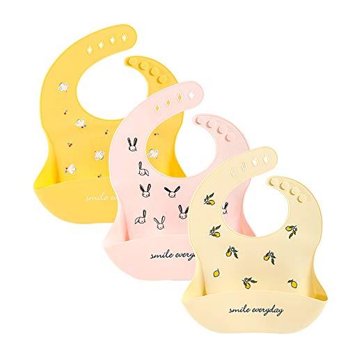 3 unids/set impermeables de silicona suave baberos de bebé lindo estampado de dibujos animados babero de bebé cosas de alimentación niños niñas niños babero ajustable para niños