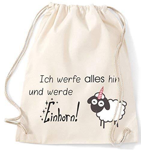 Mein Zwergenland Sacchetto Iuta Ich Werfe Tutto Hin Und Werde Unicorno, 12L - beige, 37 x 46 cm
