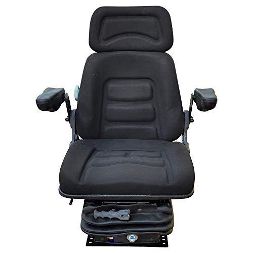Schleppersitz Traktorsitz kompatibel mit Deutz Case IHC John Deere MF Fahrersitz Universal KS 85H/90AR mit Armlehnen und Rückenverlängerung