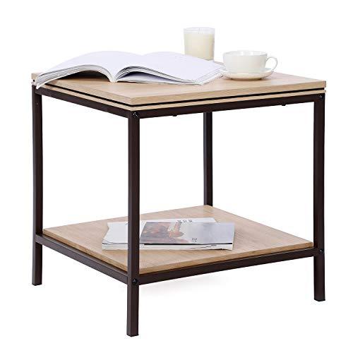 Sekey Home Beistelltisch  2-stöckiger Beistelltisch mit Ablageboden  Nachttisch   Sofatisch für Wohnzimmer, Schlafzimmer, Akzentmöbel in Holzoptik mit Metallrahmen