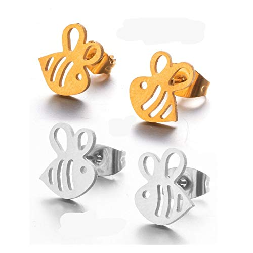 GSZPXF Minimalist Stainless Steel Stud Earrings for Women Fashion Party Earrings Jewelry Accessories (Color : Silver, Size : Bee)