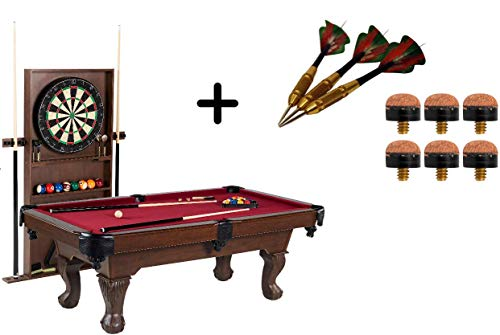 BARRINGTON 90 Inch Ball and Claw Leg Billiard Pool Table with Bonus Cue Rack and Dartboard Set (Red)
