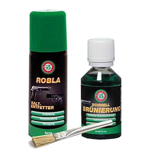 Ballistol bruñido rápido 50 ml & spray desengrasante en frío 50 ml incluye pincel del ejército alemán