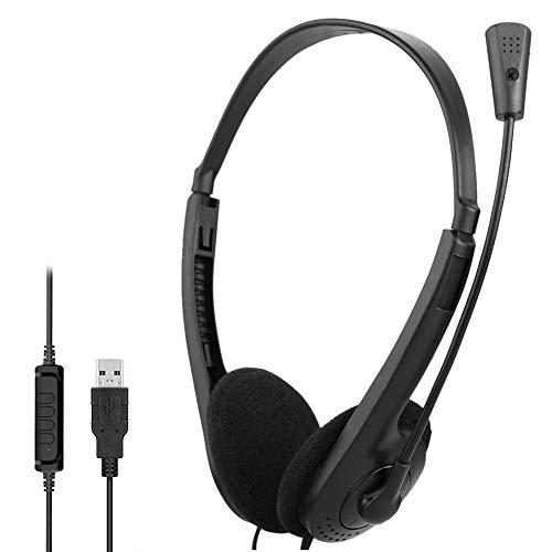 KKSH Cuffie USB con Microfono, PC Cuffie per Call Center, Auricolare con Cavo Cancellazione del Rumore e Controlli Audio Microfono Cuffie per Conferenze Aziendali