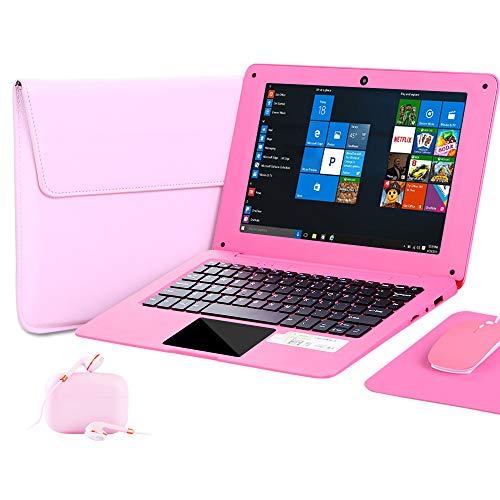 G-Anica® 25,7 cm (10,1 Zoll) Windows 10 Laptop Quad Core Notebook Slim und leicht Mini Netbook Computer mit Netflix Youtube Bluetooth Wifi Webcam HDMI und Laptoptasche, Maus, Mauspad, Kopfhörer (Pink)