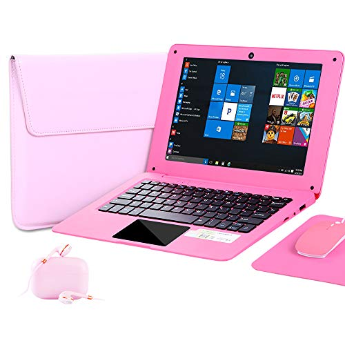 G-Anica 10.1 Inch Windows 10 Laptop Quad Core Notebook Slim and Lightweight Mini Netbook Computer with Netflix Youtube Bluetooth Wifi Webcam HDMI , and Laptop Bag,Mouse, Mouse Pad, Headphone (Pink)