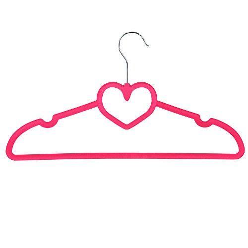 JVL Love Heart - Appendiabiti antiscivolo in velluto sottile, salvaspazio, confezione da 10, colore:...