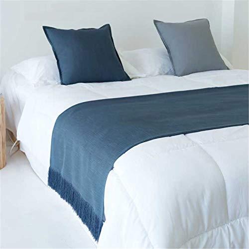 HXFYJ Bufanda de Corredor de Cama Fundas de Ropa de Cama de Hotel Modernas con borlas Hechas a Mano, colchas de Cama de Color sólido Decoraciones,Dark Blue-67X250cm for 180cm Bed