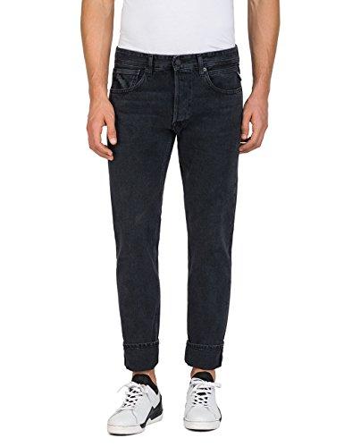 Replay Herren Grover Straight Jeans, Schwarz (Black Denim 98), W31/L34