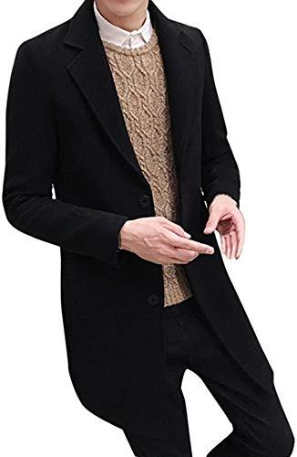 Latoshachase Men's Trench Coat Cotton Single Breasted Slim Fit Pea Coat Outwear Jacket