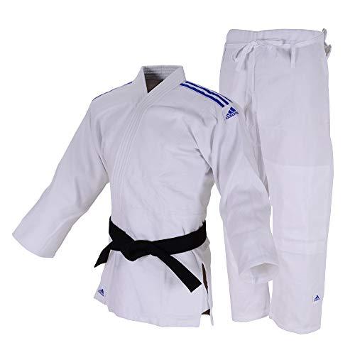 Kimono Judô Adidas Club Branco com Listras na cor Azul (190)
