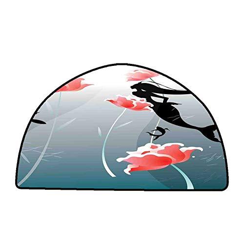 Anti-Slip Coffee Table Floor Mats Mermaid Decor,Mermaid Swimming Silhouette Underwater Flowers Blossoms Freedom Fantasies,W47'x L31' Half Round Natural Fiber Area Rug