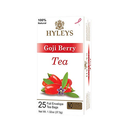Hyleys Wellness Natural Green Tea with Goji Berry - 25 Tea Bags - (100% Natural, Sugar Free, Gluten Free and Non-GMO)