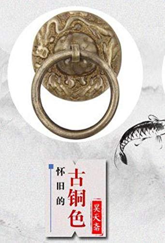 Qingsb Archaize dragón de Bronce con diseño de aldaba de Puerta, Anillo de extracción de platillo, gabinete Redondo ruyi, Bronce
