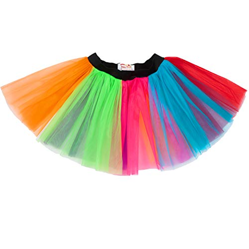 Neon Multi Coloured 80s Party Tutu Skirt, Sizes from 8 to 22