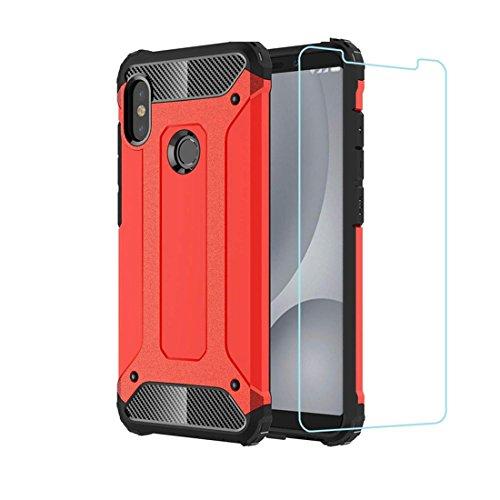 DESCHE compatibles para Funda Xiaomi Redmi Note 5, Hard PC + Soft TPU Armadura Protectora Funda Resistente a los arañazos a Prueba de Golpes + Vidrio Templado -Rojo