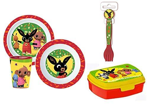 Little Flight Bing Conejito - Juego de comida escolar de plástico rígido para micrones (1 plato, 1 taza, 1 cuenco, 1 sándwich, 2 cubiertos)