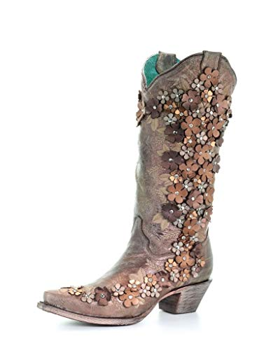 CORRAL Women's Tobacco Floral Overlay Embroidered Stud and Crystals Cowgirl Boot Brown 8.5 M