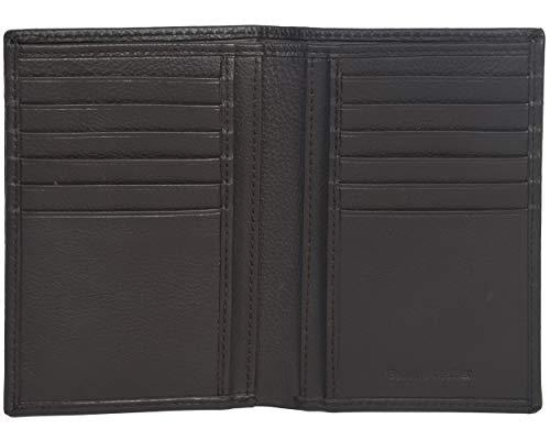 Eono by Amazon - Cartera de Cuero para Mujer y Hombre con diseño Plano y protección contra Lectura RFID (marrón Vintage/Cuero de Aspecto gastado) (Piel de napa Vacuno marrón)