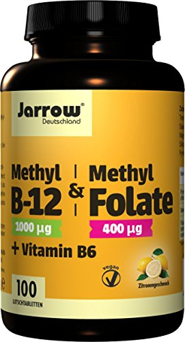 Methyl-B12 & MethylFolate + Vitamin B6, 1000 µg Methylcobalamin, 400 µg Folsäure, 1,5 mg Vitamin B6, veganes Vitamin B-Trio, 100 Lutschtabletten mit Zitronengeschmack, hochdosiert, Jarrow Deutschland