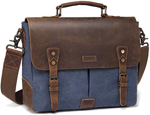 Umhängetasche Herren, VASCHY Casual Echtes Leder Segeltuch Schultertasche passt 14 Zoll Laptop Aktentasche Unisex Kuriertasche Laptop Tasche mit Abnehmbarem Gurt Blau