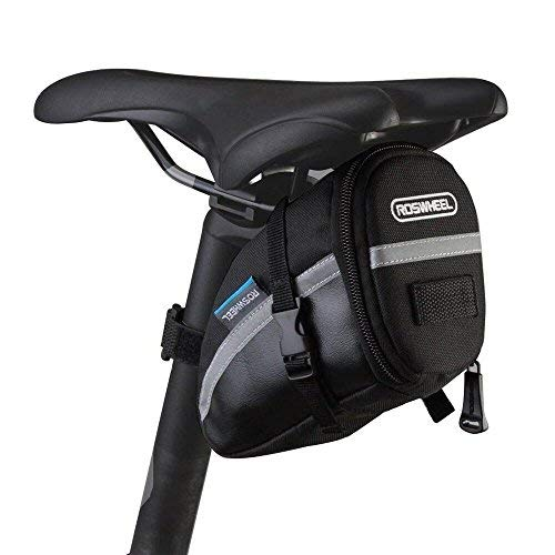 CestMall 1.2liter Bicycle MTB Cycling PU Saddle Bag, Waterproof Bike Bag Back Seat Pouch, Bicycle Repair Tools Pocket Pack with Reflective Stripes...