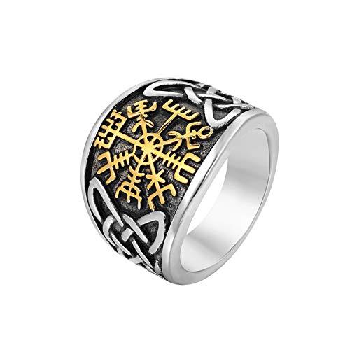 ZiFei Anillos, Acero Inoxidable Hombres Clásicos Vikingo Amuleto Runa Anillos Ninges Nordic Jewelry Regalo,Oro,13