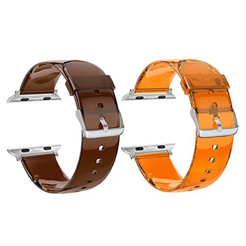 SOUWILA Compatible con Caucho Correa Reloj Dos Paquetes 38 mm 40 mm 42 mm 44 mm iWatch Series 6/5/4/3/2/1 Caucho Correa Reloj con Hebilla de Acero Inoxidable (38mm, Brown-Orange)
