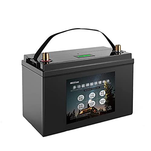 YHWL Baterías de Coche, Batería Marina 12V, Continuamente Estable 3000 Ciclos Protección contra la Sobretensión Pantalla HD con Asa para RV de Camping en Casa al Aire Libre,Negro,12V400Ah