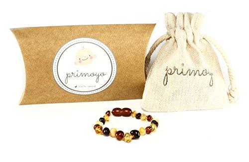 primoyo Pulsera o tobillera de ámbar báltico, 14 cm de longitud, 100 % hecha a mano, un gran regalo.