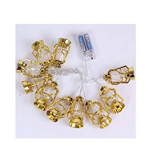 LED Muslim Ramadan Retro Laterne Lichterkette, Eid LED Feenlampe, Golden Kerosin Nachtlampe für Muslim Islam Party-Warmes Licht (Color : Lantern)
