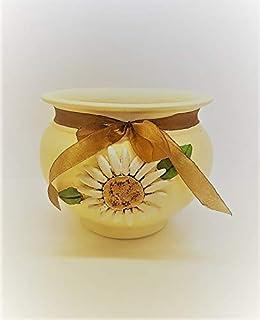 Le Ceramiche Del Re, Vaso per Piante in Ceramica, per Piante Grasse o Orchidee, con Fiore Margherita a rilievo