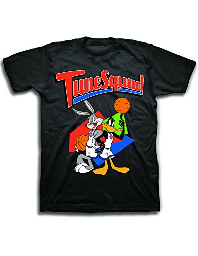 space jam Mens Classic Shirt - Tune Squad Marvin & Bugs Bunny Tee 90?s Classic T-Shirt, Black, Large