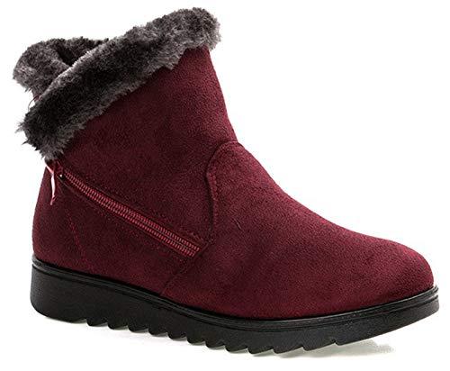Hsyooes Botas de invierno de ante para mujer, botas de invierno forradas cálidas, botas de nieve para niña, botines de invierno de caña corta, cómodas.