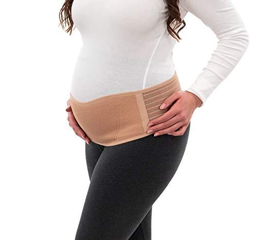 Herzmutter Bauchgurt Schwangerschaft - Schwangerschaftsgürtel - größenverstellbarer Schwangerschaftsgurt-Stützgürtel-Bauchband - atmungsaktiv für Sport-Yoga - Beige-Schwarz - 3400 (Beige, L-XL)