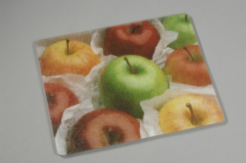 VANCE 15 X 12 inch Assorted Apples Surface Saver Tempered Glass Cutting Board, 81512AST, 15 X 12