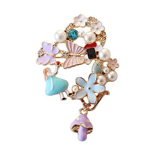 Broche de joyería japonesa Alice Garland Pearl Watch Little Girl