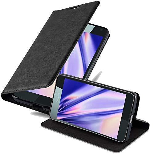 Cadorabo Hülle für Nokia Lumia 650 in Nacht SCHWARZ - Handyhülle mit Magnetverschluss, Standfunktion & Kartenfach - Hülle Cover Schutzhülle Etui Tasche Book Klapp Style