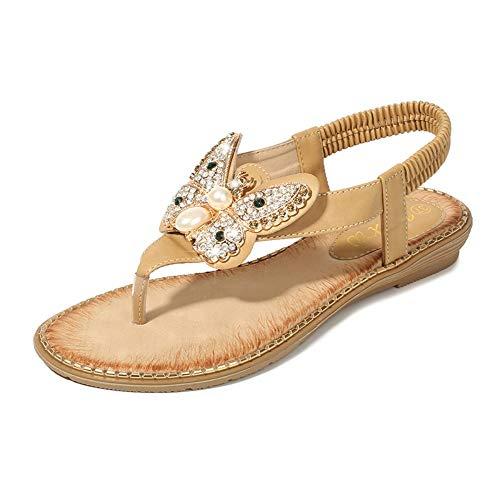 LXYYBFBD Sandalen Voor Vrouwen, Khaki Sandalen Zomer Pin-Up Boheemse Sandalen Vrouwelijke Strass Vlinder Gesp Elastische Band Dames Schoenen